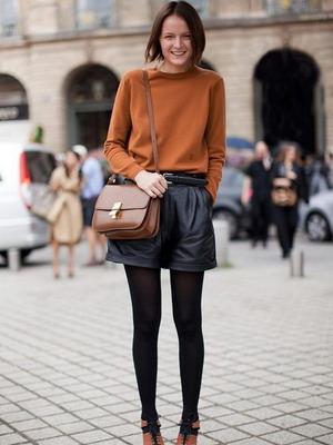 Широкие кожаные шорты 2016
