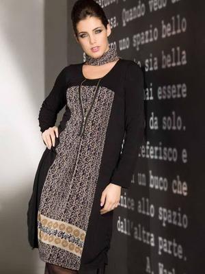 Вязаное платье  осень-зима 2015-2016 с узорами