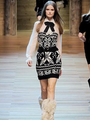 Вязанное платье 2015-2016 в ретро стиле