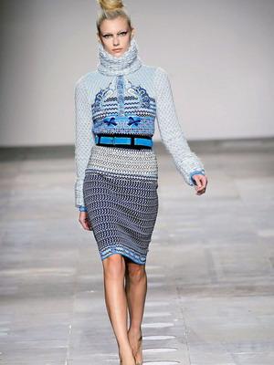 Утепленная модель вязанного платья 2016