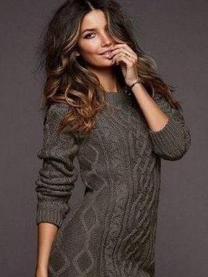 Вязаное платье-свитер зима 2016