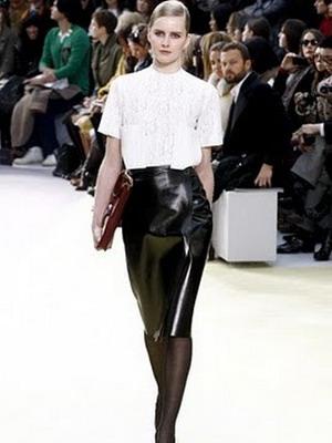 Кожаная юбка в деловом стиле 2016