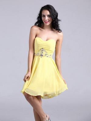 Короткое свадебное платье лимонного цвета 2016
