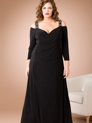 Вечерний вариант платья для полных 2016