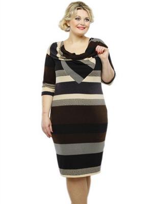 Платье для полных в горизонтальную полоску