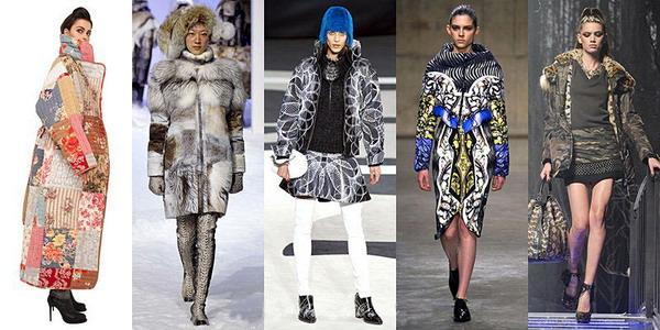 Пуховые пальто зима 2016 из материалов с градиентной окраской