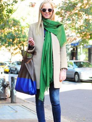 Модный зимний зеленый шарф сезона 2016