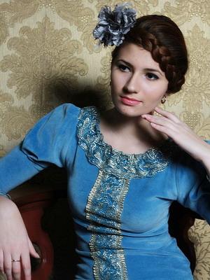 Платье в русском стиле из бархата