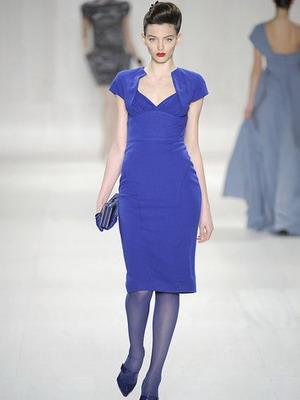 Приемы стильного сочетания с синими колготками