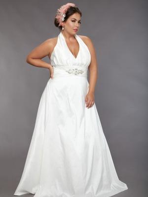Свадебное белое платье 2018 для полных невест