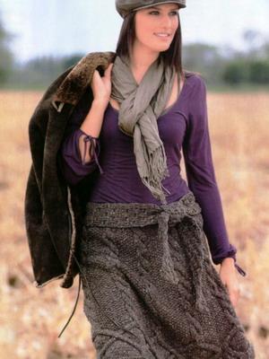 Вязаные длинные юбки спицами - 4299