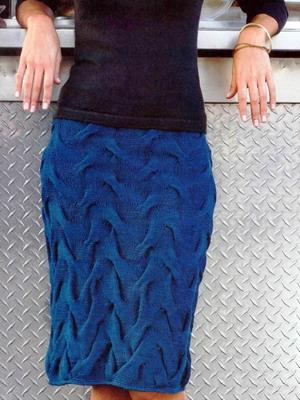 Теплая юбка на зиму 2015 года синего цвета