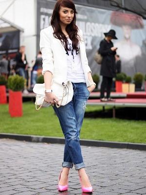 Туфли лодочки в сочетании с джинсами