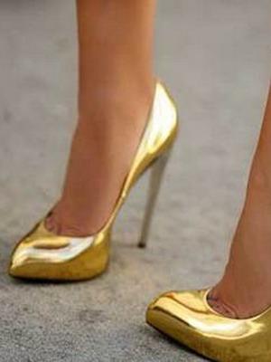Туфли-лодочки под золото