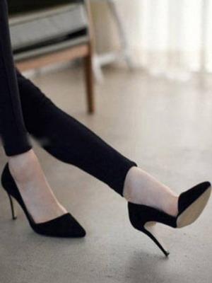 Черные замшевые туфли лодочки
