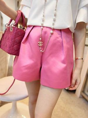 Розовые шорты с высокой талией