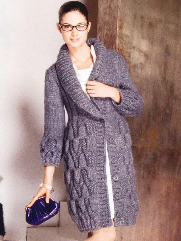 Вязаных пальто спицами и крючком со схемами и описанием. Женские жакеты и паль