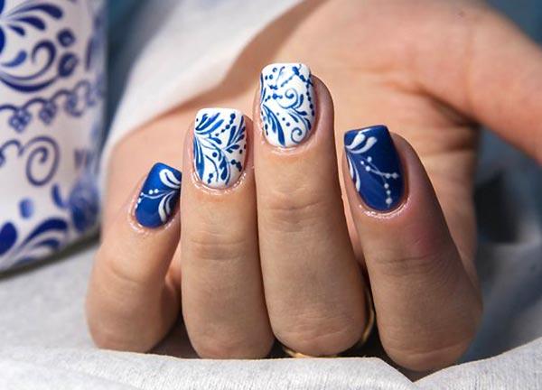 Гжель дизайн ногтей