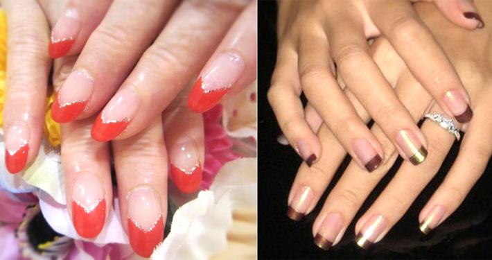 Как накрасить ногти двумя разными цветами по типу французского маникюра