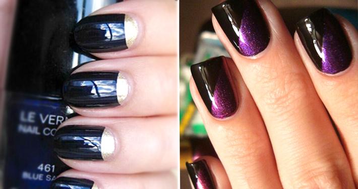 Как накрасить ногти двумя цветами по принципу лунного маникюра
