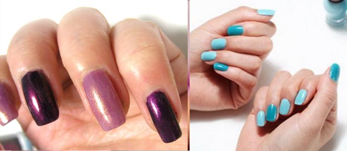 Как накрасить ногти двумя цветами - монохромное сочетание