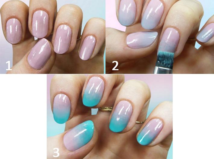 Красим ногти двумя цветами с плавным переходом