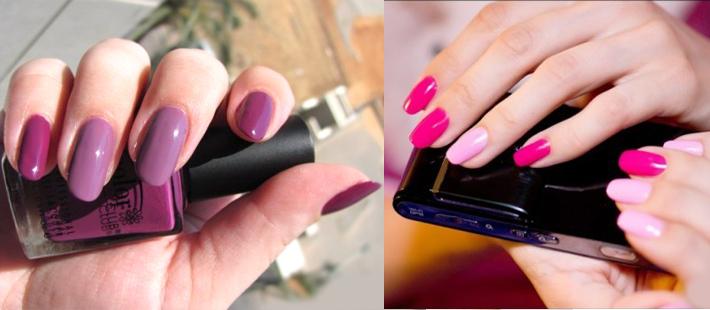 Как накрасить ногти двумя цветами монохромно