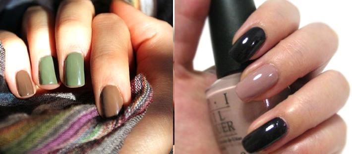 Как накрасить ногти двумя разными цветами
