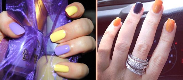 Как накрасить ногти двумя цветами - контрастное сочетание