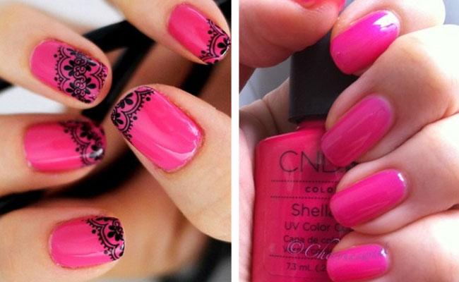 ярко розовые ногти шеллак