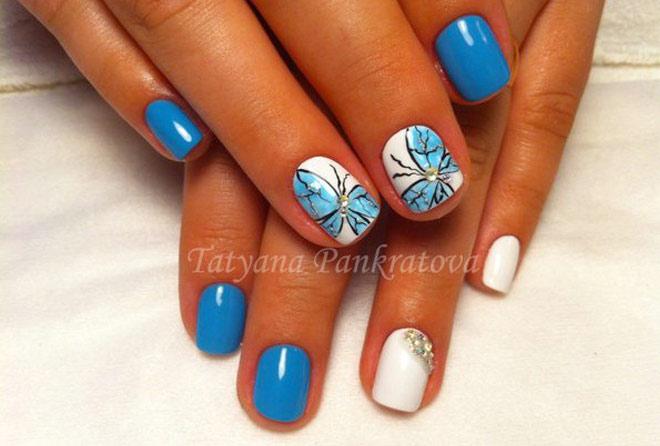 оригинальный дизайн бабочка с применением голубого шеллака