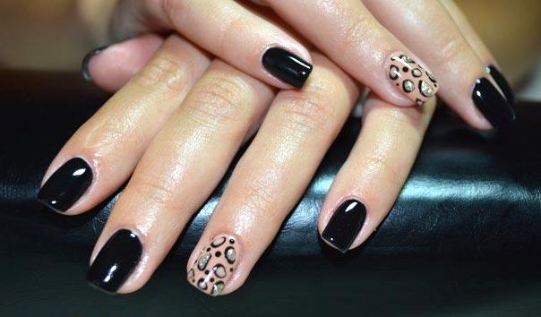 Черный леопардовый рисунок гель лаком