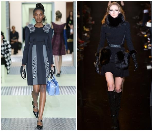 Платья с меховой отделкой осень-зима 2015-201