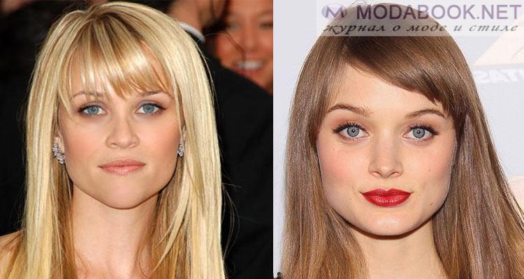 Прически для квадратного лица с челкой на средние волосы