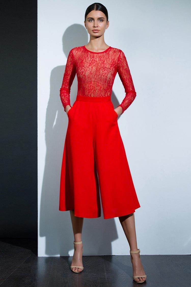 Красные брюки-юбка 2016 весна лето