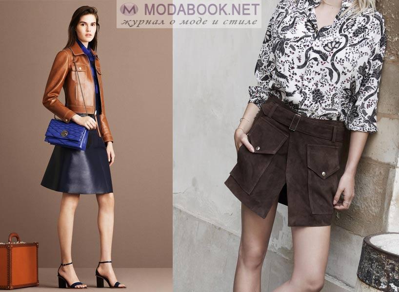 Кожаные мини-юбки 2016