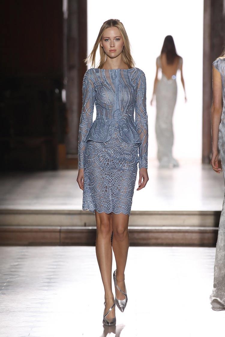 Короткое выпускное платье синего цвета 2016