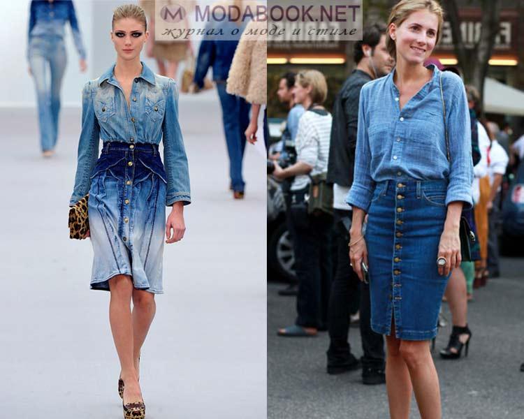Что лучше носить с джинсовой юбкой