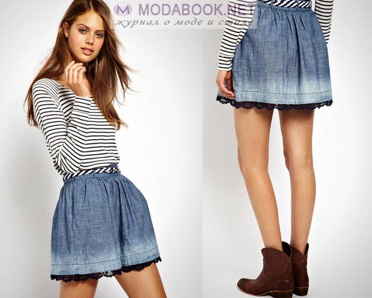 Короткая джинсовая юбка лето 2016