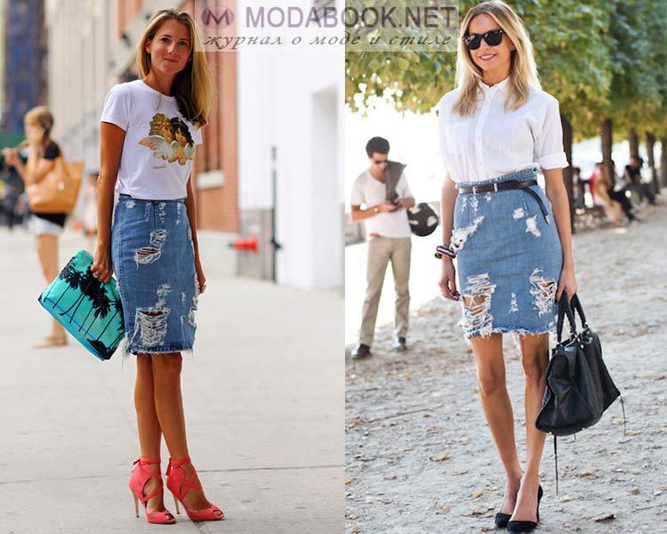 Рваные и потертые джинсовые юбки лето 2016