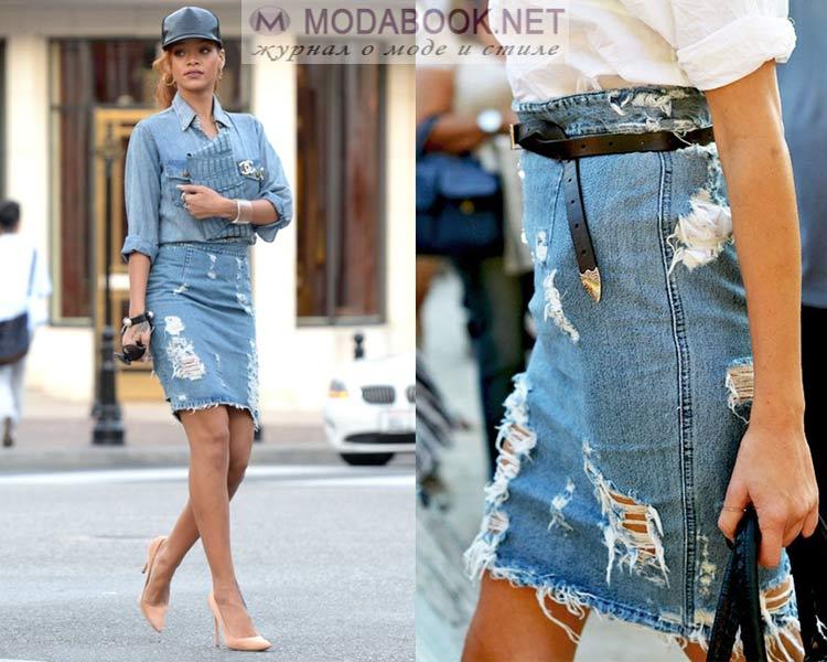 Дизайн джинсовой юбки