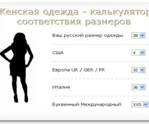 Калькулятор соответствия размеров женской одежды