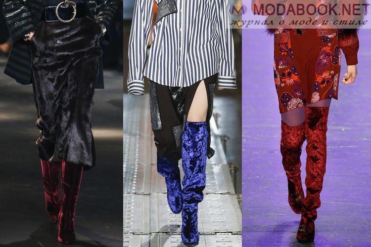 Модная обувь осень-зима 2016-2017: сапоги бархатные
