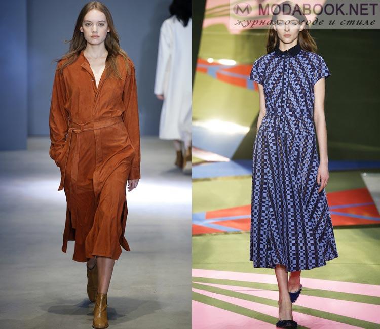 Модные платья осень - зима 2016 - 2017: миди платье