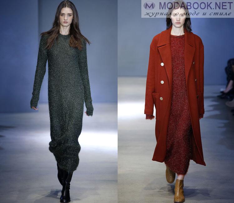 Модные платья осень - зима 2016 - 2017: длинные свитера