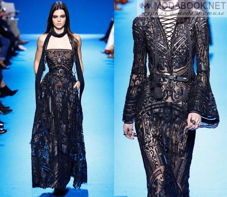 Модные платья осень - зима 2016 - 2017: кожанные вставки
