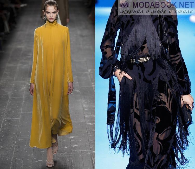 Модные платья осень - зима 2016 - 2017:бархатные