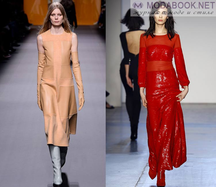 Модные платья осень - зима 2016 - 2017: комбинированные