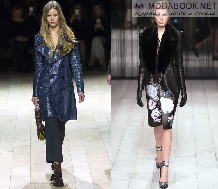 Модные женские пальто осень-зима 2016-2017:  кожанное