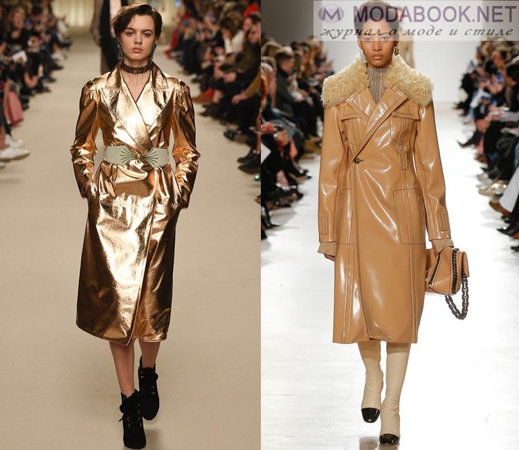 Модные женские пальто осень-зима 2016-2017:  кожанное лаковое